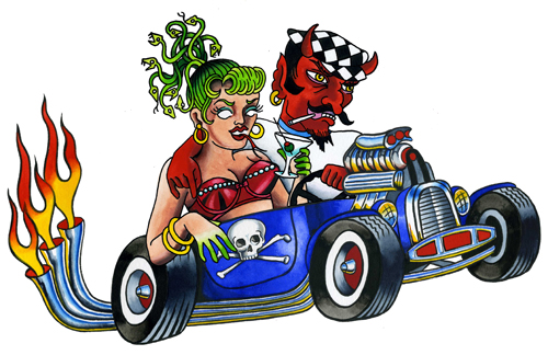 Devil and Babe in a Hotrod medusa martini glass tattoo flash flames