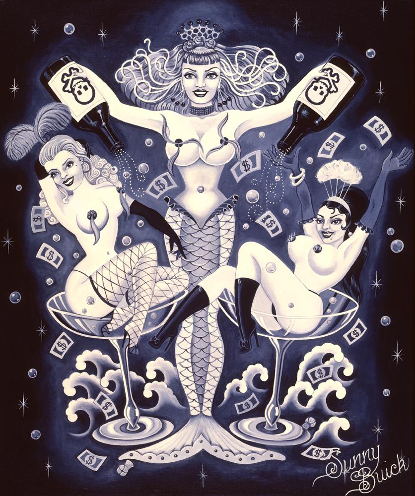 Deady Champagne Coctail mermaid burlesque money bubbles pinup