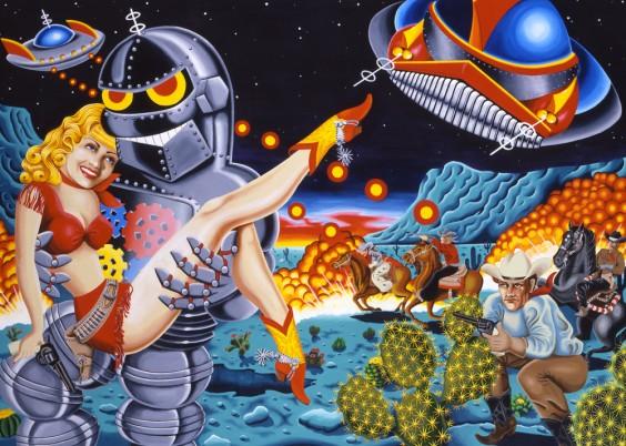 Love Machine sci fi western cowgirl cowboy robot ufo horse desert night