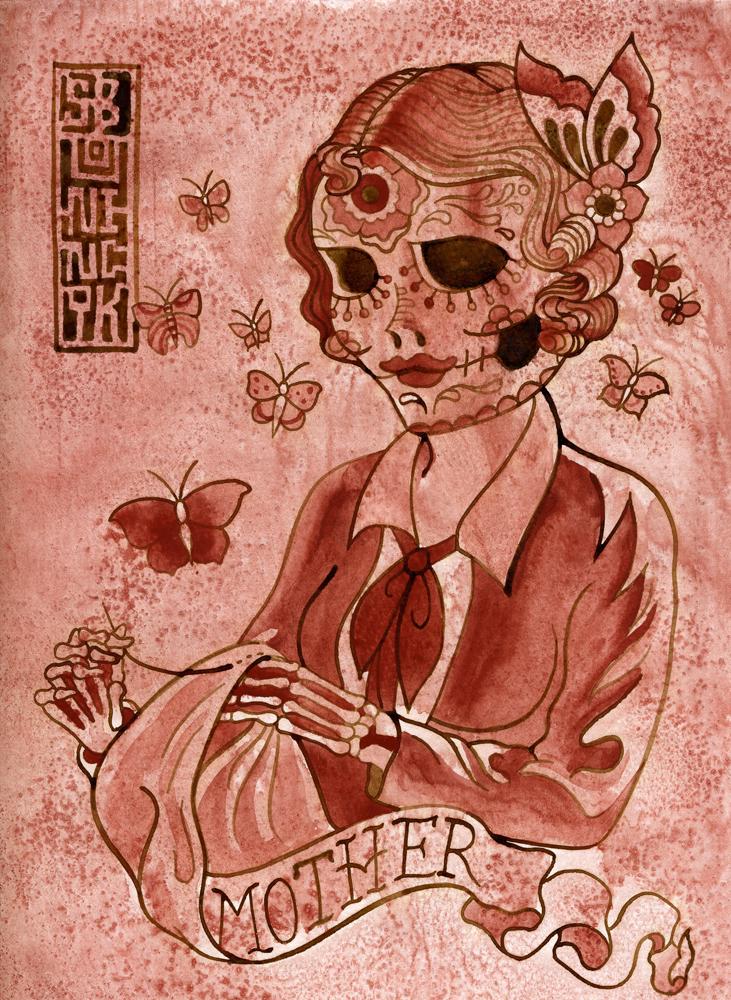mother sugar skull sewing