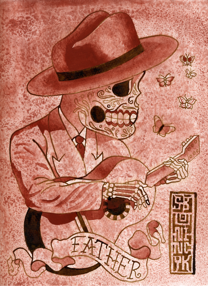 Pere sugar skull playing the guitar