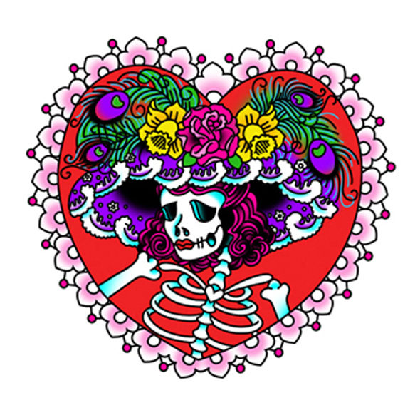 katrina tattoo heart day of the dead lady