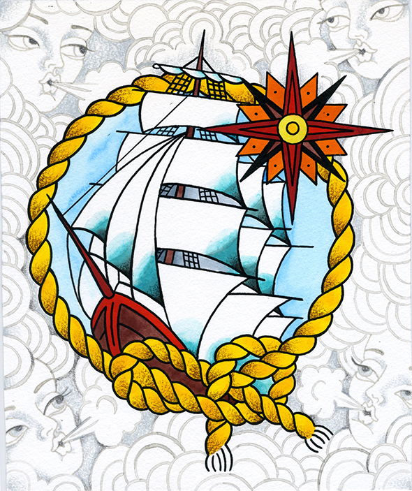 The Four Winds Blow ship sailor tattoo flash