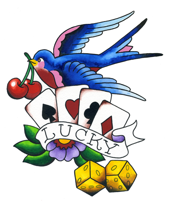 Lucky cards dice cherries swallow tattoo flash