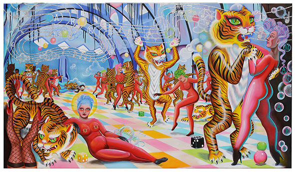 Description: An oil/mixed media painting of a festive scene. In a luminous ballroom, with a multicolored checkered floor, tigers are dancing with women dressed in red leotards. To the left in the foreground, two women are on the floor. We see one of them with just her feet in the air, red shoes and fishnet stockings. The other woman is lounging, leaning on a crouched tiger who seems to be in cahoots or protecting the two women. Near her hand is a group of bubbles arounf the word «fortitude». Streams of dancing energy ribbons swirl bringing our eyes to what she has at her fingertips. In the far background against the back wall a ravenous tiger is snacking on a man dressed in a business suit. Most of the tigers are upright on two feet, holding their partner or dancing freestyle. There are clouds of vapor and bubbles that float in the air. We can see glittering music wafting across the image. On the ground are a few spheres and dice. Written in the music we read «L.E.A.R.N.I.N.G. T.O. D.A.N.C.E. W.I.T.H. T.H.E.» and in the bubbles maneaters