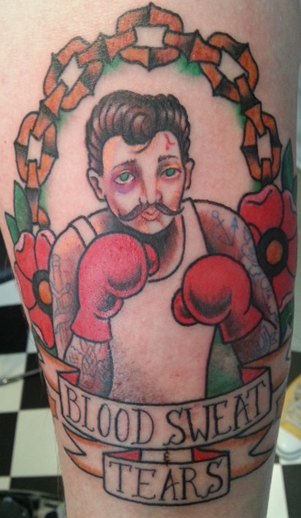 Boxer Tattoo Blood Sweat and tears
