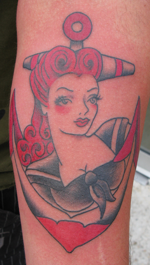 Sailor Girl and Anchor Tattoo