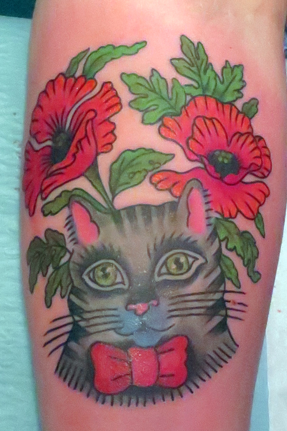 Russian Tattoo Motif cat and poppies