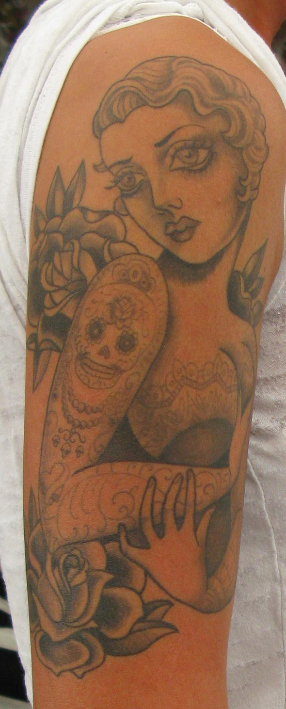 Pin Up Black and Grey Tattoo