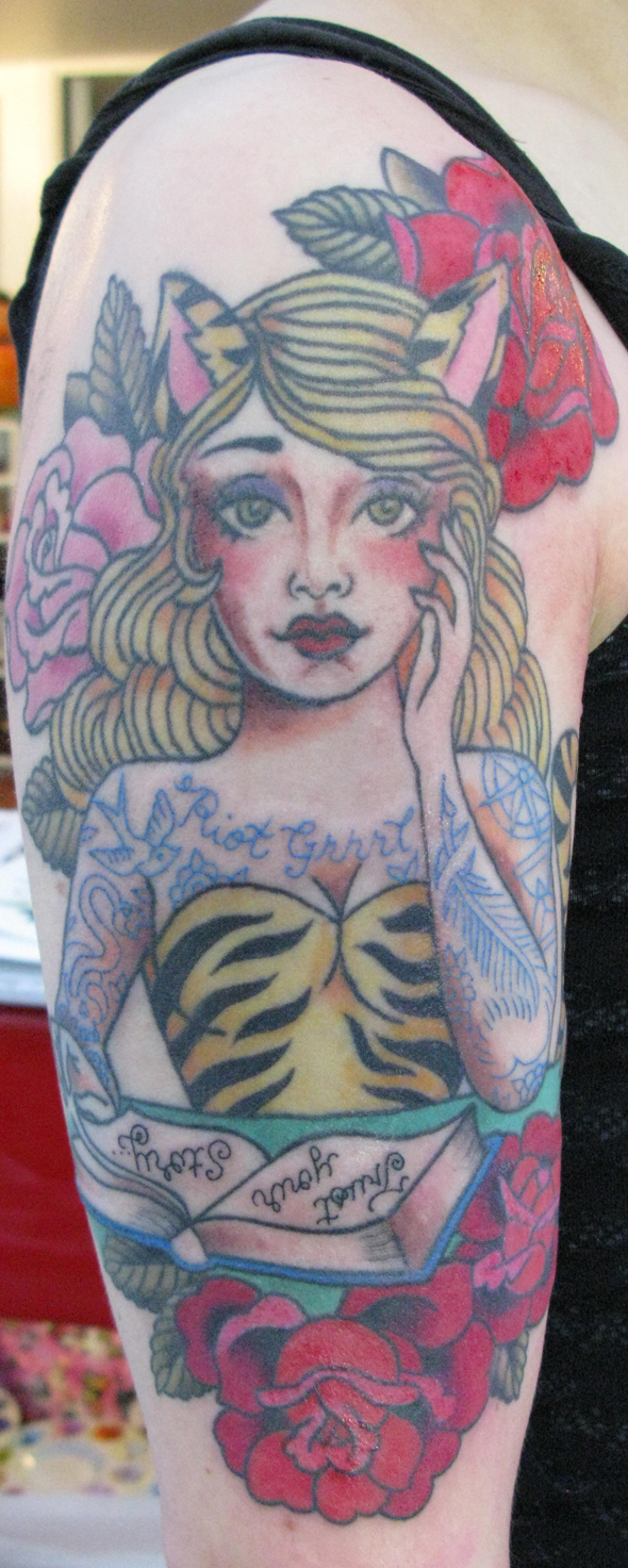 Cat Woman Writer roses book tattoos