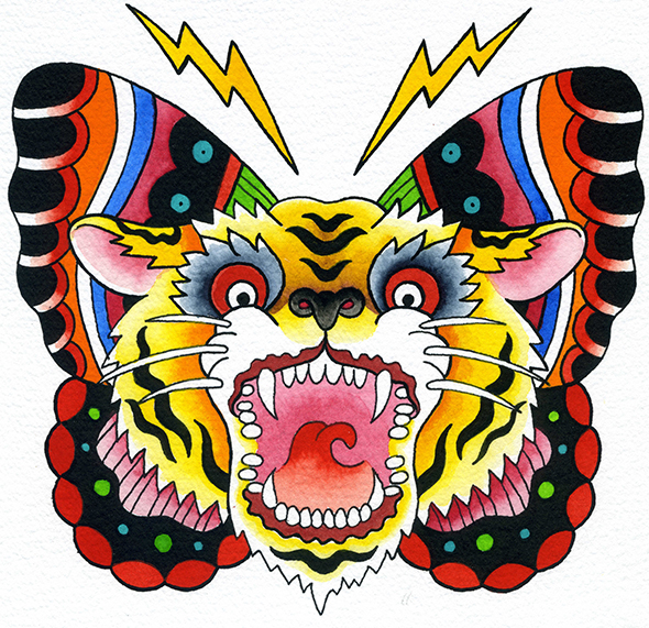 Courage tiger butterfly roar lightning