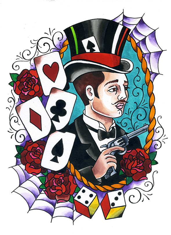 Gambler cards dice rope roses top hat pistol tattoo flash