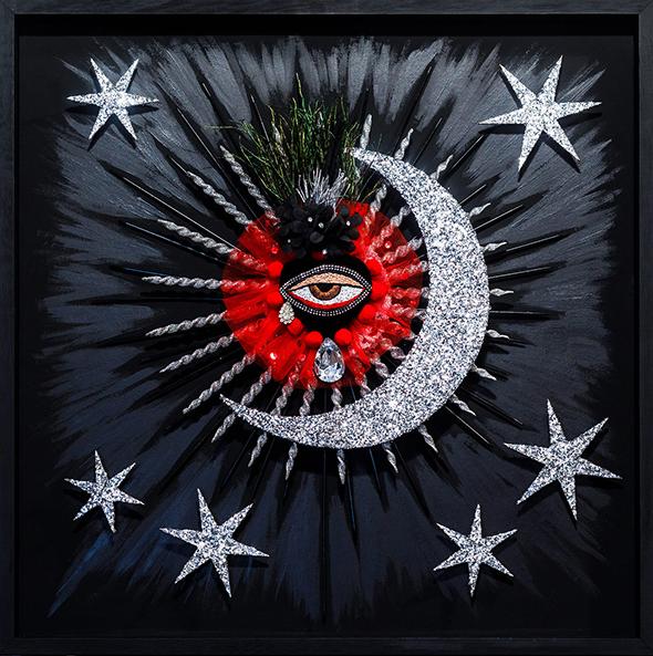 Silver Milagros Heart eye stars sun moon tears multimedia found objects