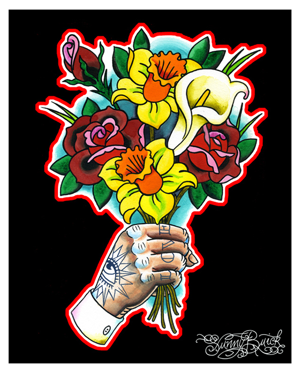 Bouquet tattooed hand flowers rose