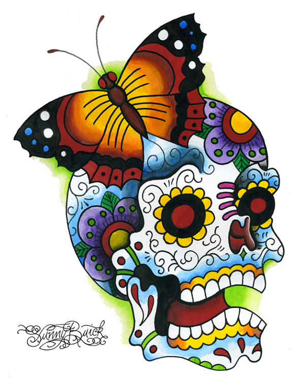 Butterfly Skull Laughing sugar day of the dead
