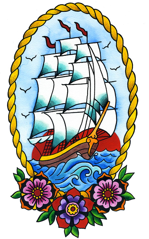 Ship sailor tattoo