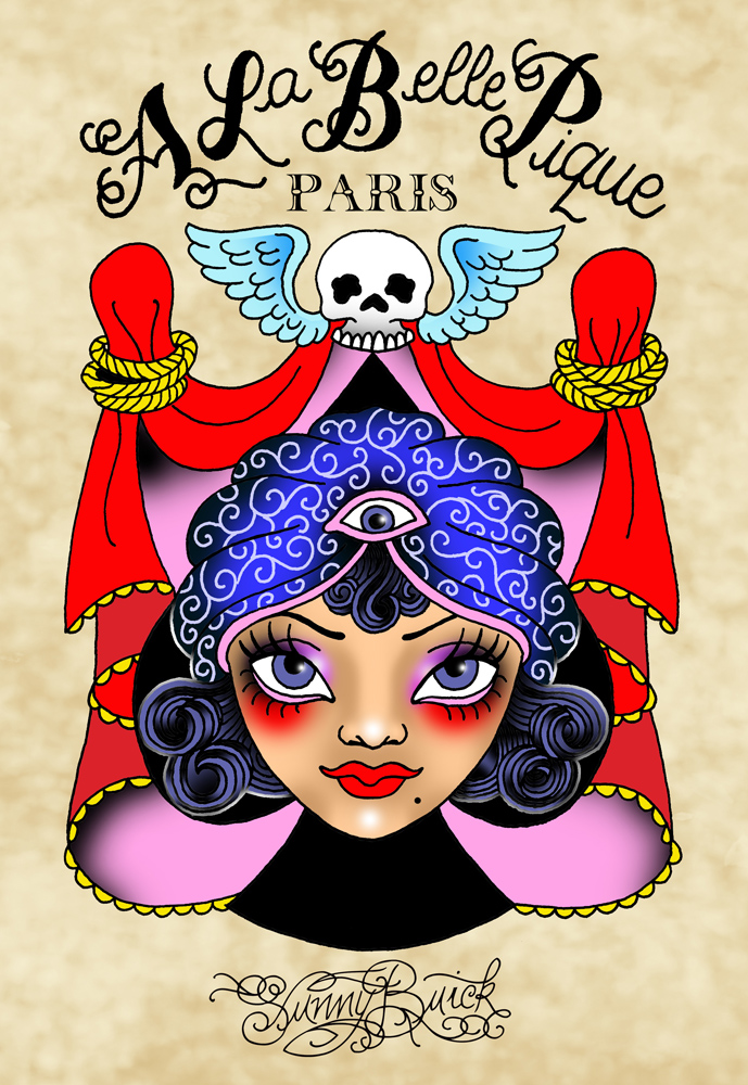 A La Belle Pique Logo gypsy ace of spade tattoo artist business card