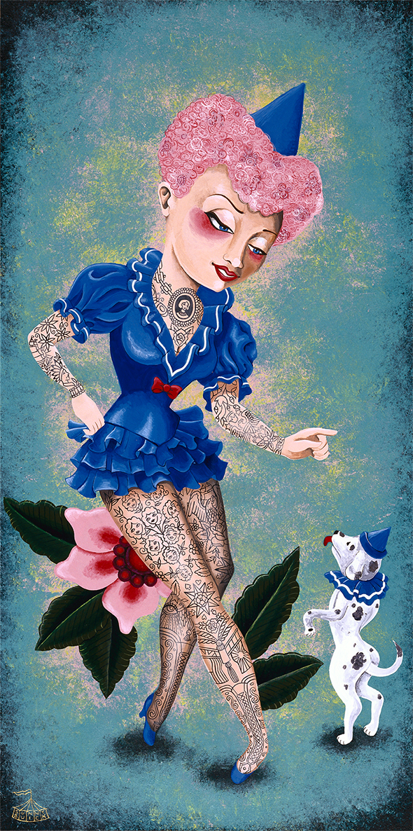 La Dresseuse tattooed circus lady animal trainer her circus dog
