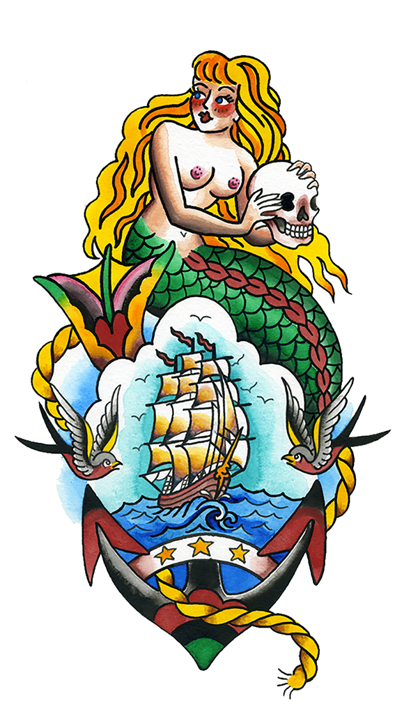 Mermaid tattoo design skull ship swallows rope anchor