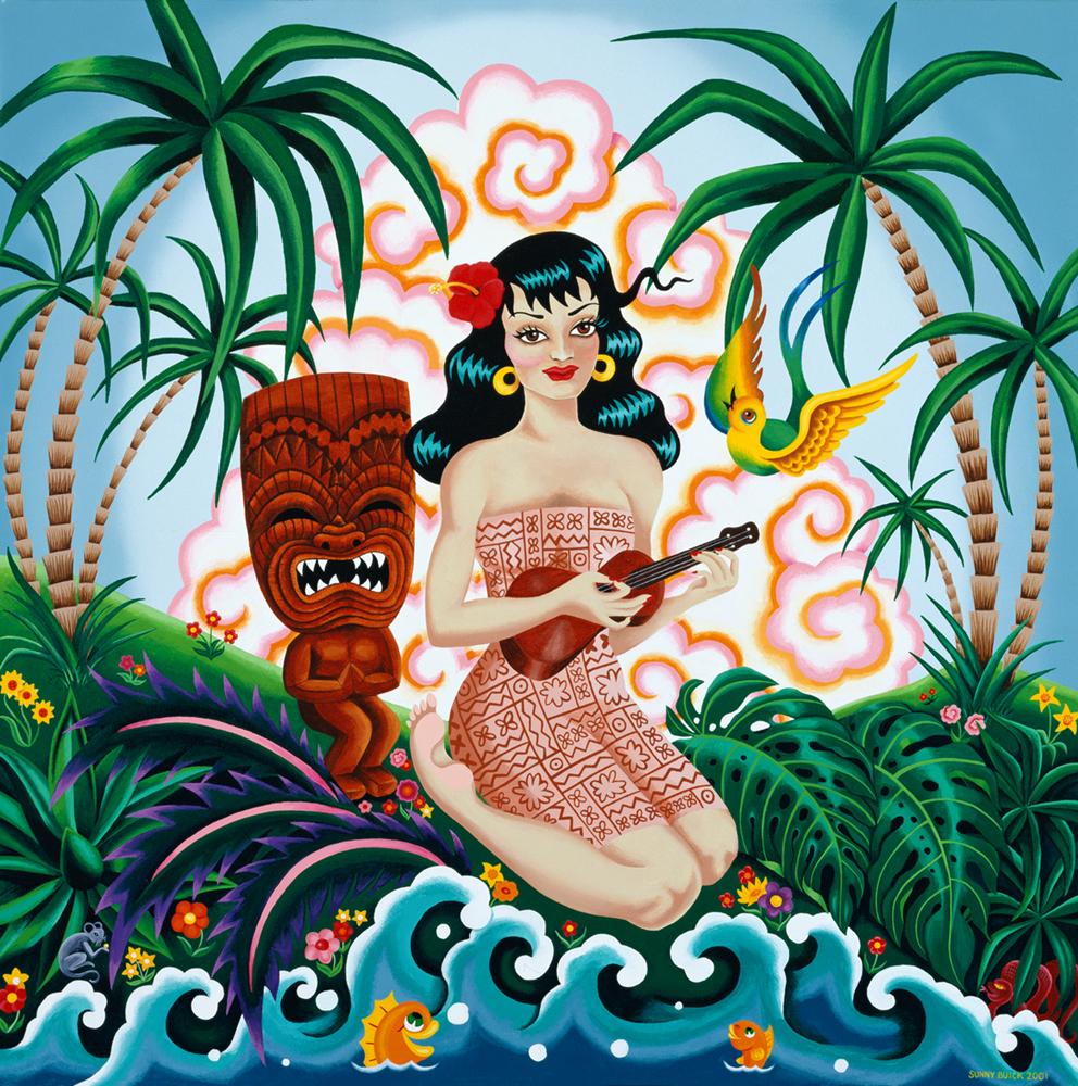 Miss Serenetiki ukulele wahini hula dancer tiki palm trees
