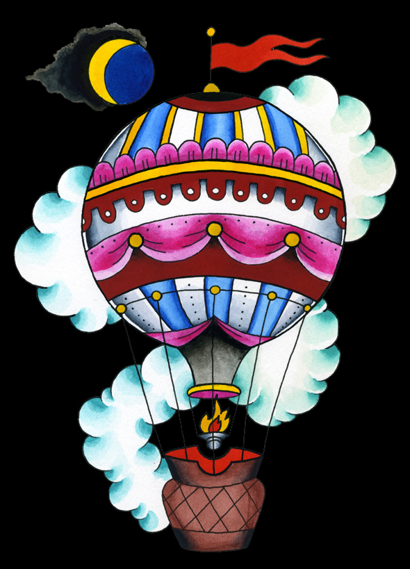 Night Balloon hot air balloon moon