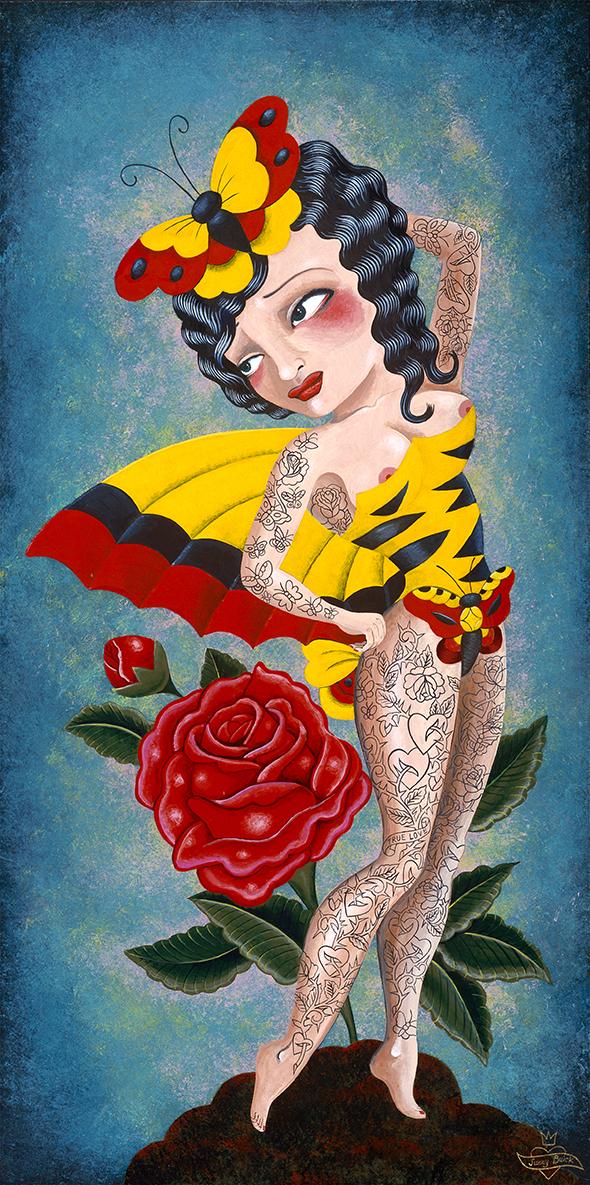 Mon tableau «Social Butterfly» (« personne qui papillonne en société» en anglais) avec ses tatouages de roses représente par exemple la liberté des histoires d'amour successives. C'est que j'apprécie d'allier humour et mélancolie dans ses choix.