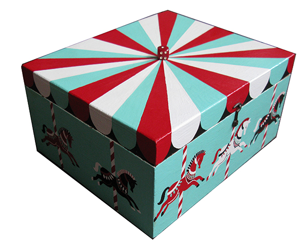 circus carousel horses hand painted box